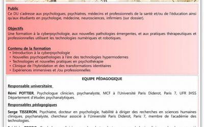 L'IERHR lance son premier Diplôme Universitaire à l'Université Paris Diderot : «Cyberpsychologie»